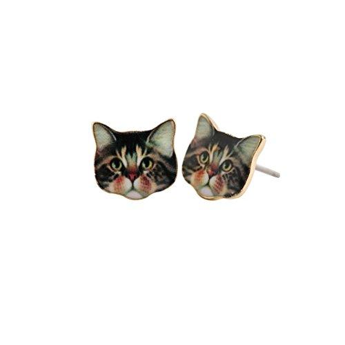 fonk: Unique Brown Cat Head Stud EarringsCute Animal Earring -OED015 - Cat Head Earrings