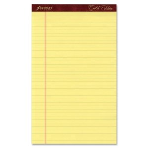 Ampad 20030 Gold Fibre Pads, 8 1/2 x 14, Canary, 50 Sheets, Dozen by Esselte
