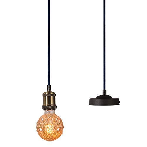 XIDING Industrial Mini Pendant Light Single Vintage Socket E26/E27 Lampholder Edison Bulb Socket Black Woven Fabric Pendant Light Cord Adjustable Hanging Light Kit (Bronze)