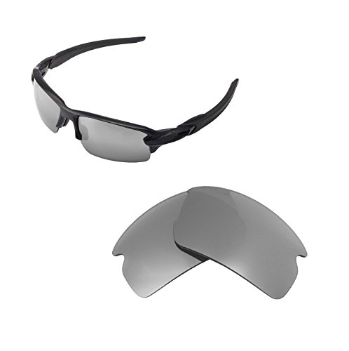 Walleva Replacement Lenses For Oakley Flak 2.0 Sunglasses - Multiple options available (Titanium) - Titanium Replacement