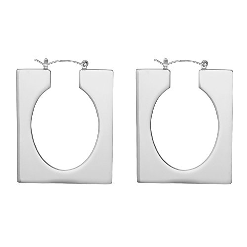 LILIE&WHITE Fashion Geometric Oblong Hoop Earrings with Oval Cut out For Women ()