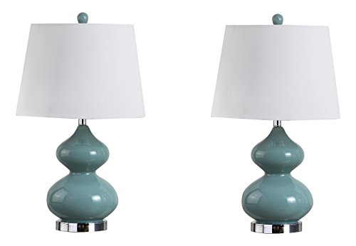 Safavieh Lighting Collection Eva Marine Blue Double Gourd 24-inch Table Lamp (Set of ()