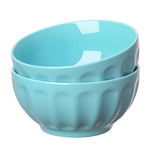 (YHY 13048 Porcelain Fluted Bowl Sets for Cereal, Soup, 24-ounce Light Blue)