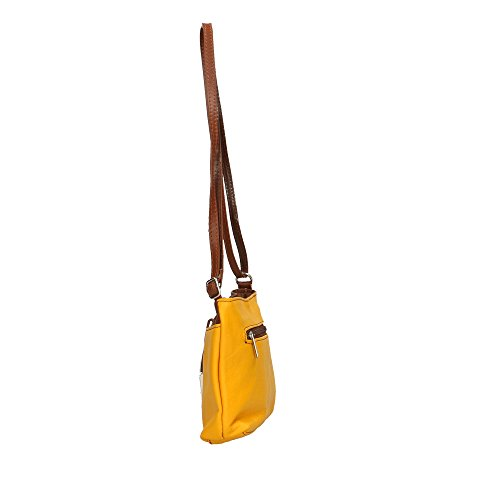 Jaune femme véritable Cm Sac en Made Italy Aren Marron in cuir bandoulière 23x17x5 wXPqwvE