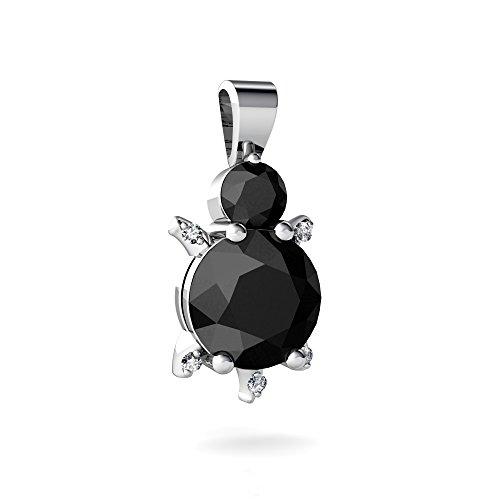 14kt White Gold Black Onyx and Diamond 4mm Round Turtle ()