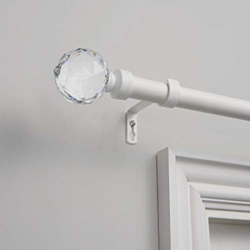 """Exclusive Home Curtains Crystal Ball Curtain Rod and Finial Set, 36""""-72"""", Matte White"""