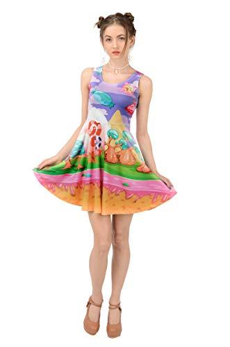 CowCow Womens Candyland Dessert Skater Dress, Purple - 2XL -