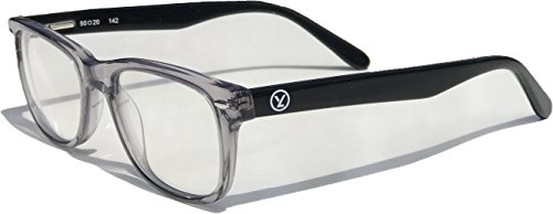 Computer Gaming/Reading/Work Glasses Anti-Blue Light Clear Lens - Reduces Eye Strain/Fatigue/Headaches – 100% UV Protection Transparent Grey Hand-made Frame with Flex Hinges by Yizmo by Yizmo