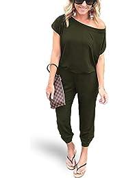Women's Sexy Off Shoulder Elastic Waist Beam Foot Jumpsuit Rompers Black