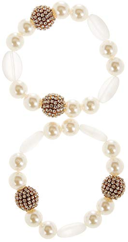 Bay Studio Pave Rhinestone Bead & Faux Pearl Bracelet Set White/Gold Tone