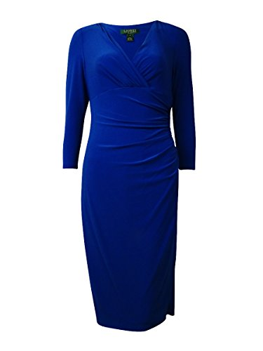 Matte Jersey 3/4 Sleeve Top (Ralph Lauren Women's 3/4 Sleeves Faux Wrap Jersey Dress (12, Borrowed)