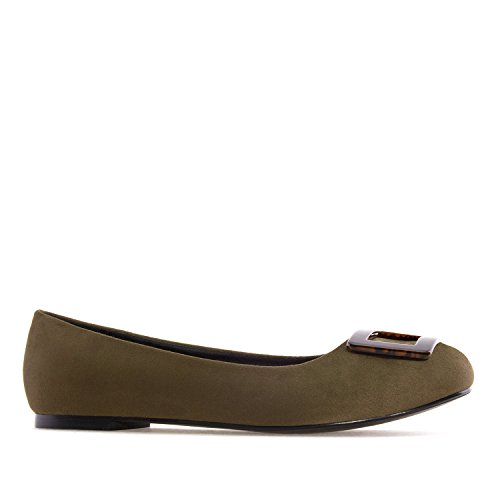 Andres Machado AM5223.Ballet Flats in Suede/Patent, with Detail.Large Sizes:UK 8 to 10.5/EU 42 to 45. Green Suede