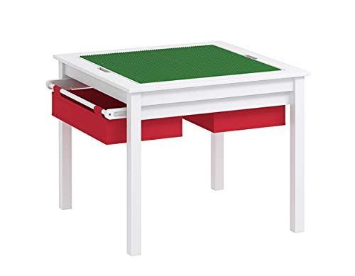 (UTEX 2 in 1 Kids Construction Play Table with Storage Drawers and Built in Plate (White with Red Drwaer))