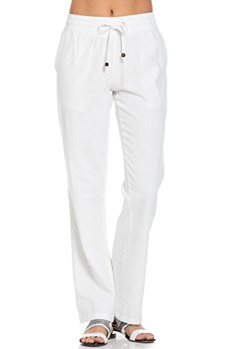 Poplooks Women's Comfy Elastic Waistband Drawstring Linen Pants (X-Large, White)