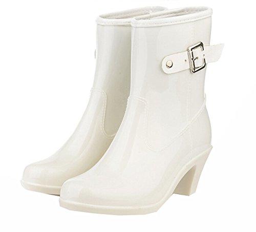 2015 Frühlingssommer-Frauen-Stiefel mit hohen Absätzen Ankle Regen Stiefel Beleg auf Schuhen Rain Regen Schuhe weiß