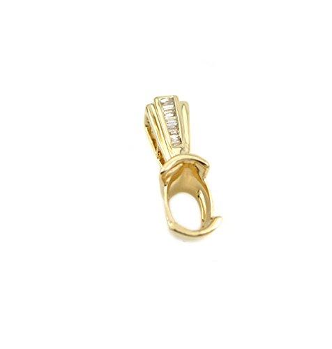 (Ladies 14k Gold Oval 7x5mm Natural Diamond Pendant Semi Mount (PSO048) (14k Yellow)