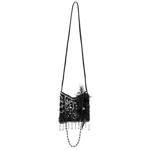 Amakando Glittering 20s Shoulder Bag Black Elegant Gatsby