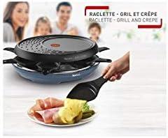 TEFAL Raclette Colormania 3-en-1 Appareil à Raclette Grill et Crêpe Revêtement Antiadhésif Easy Plus 8 Coupelles Compatible Lave-Vaisselle 1050 W Bleu acier RE310401
