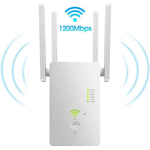 AC1200 WiFi Range Extender | Latest 5GHZ&2.4GHZ Dual Band | Dual Band WiFi Extender, Repeater, WiFi Signal Booster, Access Point| Easy Set-Up |