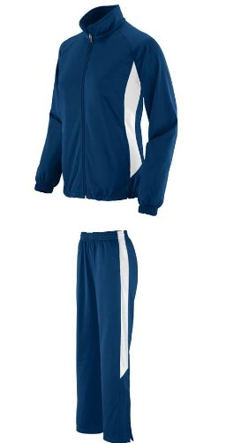 Ladies Adult Navy/White Medium Full 2-Color Sweat Suit with Sweat Pants andamp; Matching Jacket