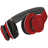 NeoJDX Venice Over ear bluetooth Headphones, Best Bass Headphones with 40mm Bass Driver, Noise Cancelling wireless Headset, with mic - Red