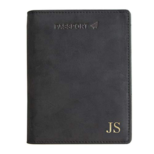 Monogrammed Black RFID Blocking Premium Full-Grain Leather Passport Wallet Holder by Case Elegance (Monogrammed Passport Cover)