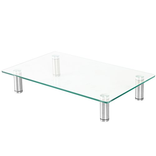 Height Adjustable Glass Monitor Stand Riser - 16 x 9.5 Inch Desktop Stand for Computer Monitors, Laptop & More