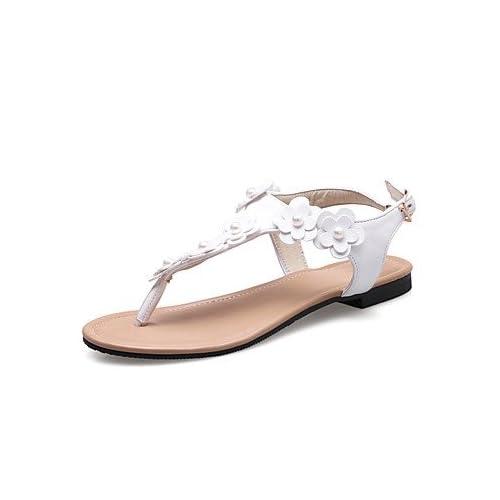 YFF Sandales femmes Talon plat PU Slingback blanc,Fleurs,US4-4,5 outlet