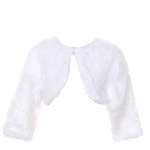 1c1260dd4 Rain Kids White Faux Fur Pearl Button Shrug Bolero Baby Girls 6M-3T ...