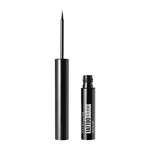 Maybelline New York TattooStudio Liquid Ink Eyeliner Makeup, up to 36HR Wear, Sweat Resistant, Smudge Resistant, Ink Black, 0.08 fl. oz.