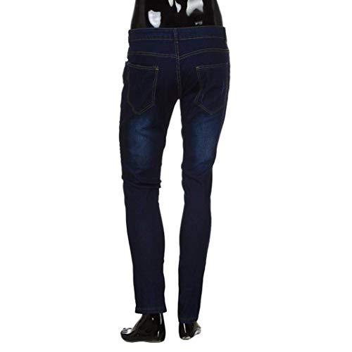 Denim Dunkelblau Casuali Uomini Rip Pantaloni Riparazione Degli Lunghi Comodo Distrutto Moda Dei Battercake Skinny Torn Jeans Di qEwAAF