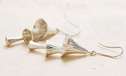 Long Large Textured Sterling Silver Chime Bell Cascading Dangle Drop Earrings Unique Anniversary Mothers Day Gift ()
