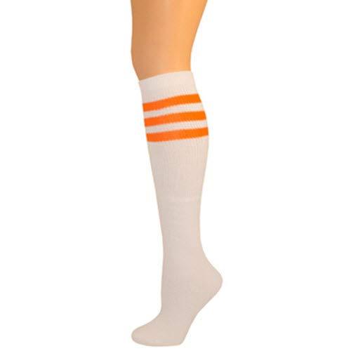 (AJs Classic Triple Stripes Retro Knee High Tube Socks - White, Neon Orange, Sock size 11-13, Shoe Size 5 and)