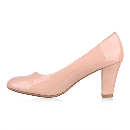 Klassische Damen Pumps Business Schuhe Basic Wildleder-Optik Heels Flandell Rosa Carlet