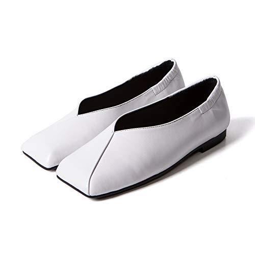 Shoes BalaMasa Womens APL11132 Leather Solid Travel Casual White Pumps qRpwPYFBx