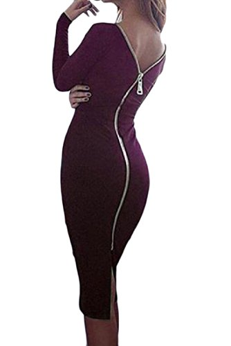 Coolred-femmes Zip Sexy Taille Plus Couleur Pure Forme Vin Robe Party Club Moulante Rouge