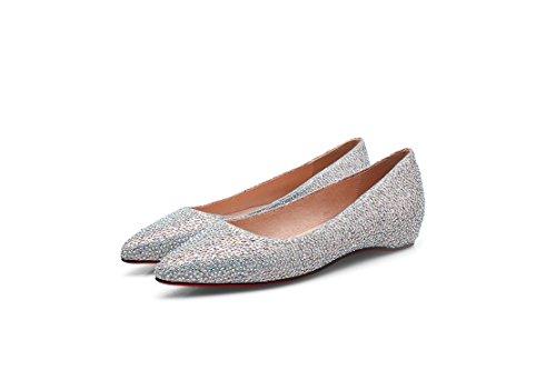 hexiajia con mujer Zapatos plata Cordones Planos pAawWqSrzp