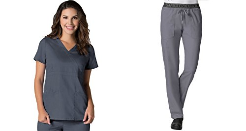EON by Maevn Mock Wrap Top & 7 Pocket Waistband Cargo Pant Scrub Set (X-Small Tall, Pewter) (Embroidered Mock Wrap Scrub Top)