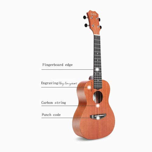 Mkulele Ukulele Beginner 23-inch Student Ukulele Small Guitar Adult Female Carbon Strings Do Not Hurt The Hand Wall Mount Clip Fender Pegs Heads Tiger Snark Picks Button Drill