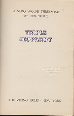 Triple Jeopardy a Nero Wolfe Threesome Home to Roost The Cop-Killer The Squirt and the Monkey - Killer Monkey