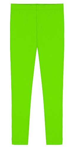 Popular Big Girl's Cotton Ankle Length Leggings - Lime Green - -