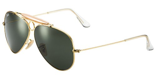 c90463c09e1cd Image Unavailable. Image not available for. Color  Ray Ban Aviator Shooter  RB3138 001 58-09 Sunglasses Pilot Shape Gold Frame Crystal Green