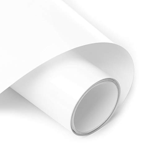 Mesky Heat Transfer Vinyl HTV for T-Shirts 12 x10 Roll White, Easy to Weed Iron on Vinyl for Cricut & Silhouette Cameo (White)