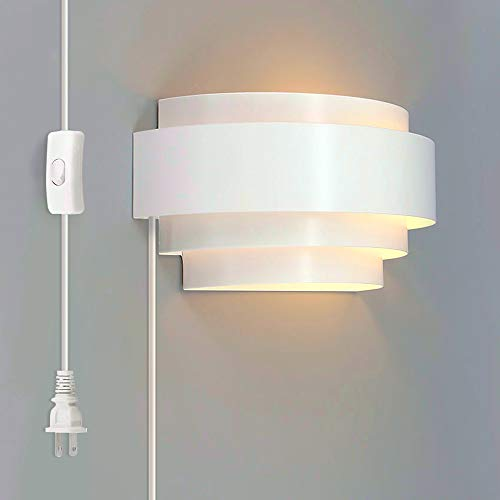 - Lightess Modern Wall Sconce Plug in Up Down Wall Light 6W LED Wall Lamp for Hallway Bedroom, Warm White