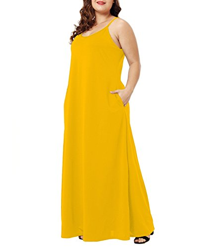 Strap Yellow Long with Dress Maxi Pocket Plain Size Lalagen Womens Casual Loose Plus 47TTaI