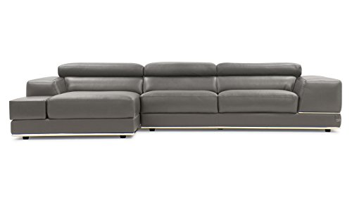 Zuri Furniture Encore Slate Leather Sofa - Left Chaise