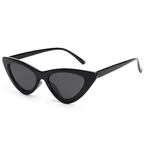 Livhò Retro Vintage Narrow Cat Eye Sunglasses for Women Clout Goggles Plastic Frame (Sunglasses Cat Eyes)