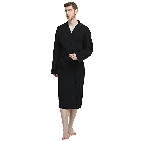 M&M Mymoon Men's Kimono Robe Long Comfy Bathrobe Cotton Loungewear Spa Cloth Robe (Black, L/XL) by M&M Mymoon (Image #2)