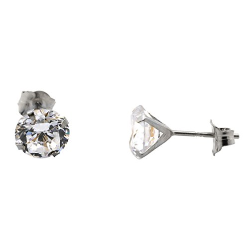 14k White Gold Cubic Zirconia Stud Earrings, 6mm (1.68ctw)