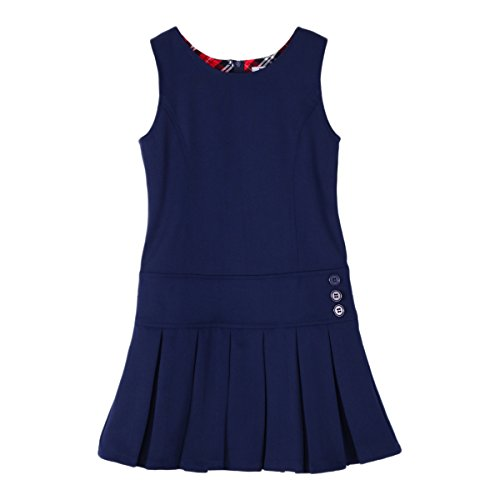 (Bienzoe Girl's Stretchy Pleated Hem School Uniforms Jumper Navy 6)